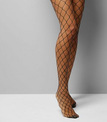 Black Oversized Fishnet Tights New Look