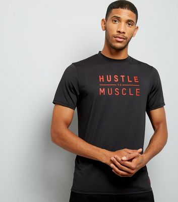 Black Hustle To Muscle Slogan Sports T-Shirt New Look