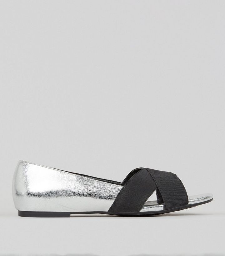 cad46bf57b03b Wide Fit Silver Cross Front Open Toe Shoes Add to Saved Items Remove from  Saved Items