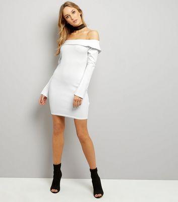 Cream Bardot Neck Split Sleeve Bodycon Dress New Look