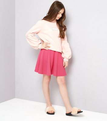 Teens Bright Pink Crepe Skater Skirt New Look
