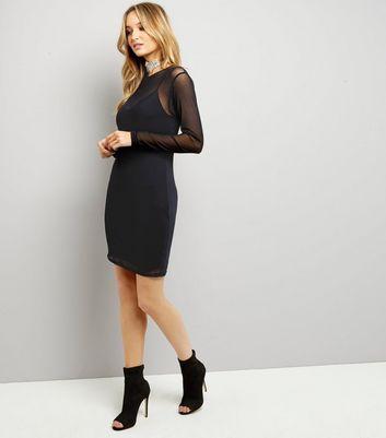 Black Mesh Long Sleeve Bodycon Dress New Look