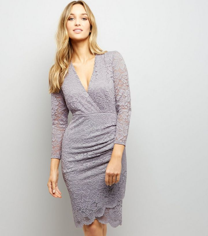 Grey Lace Wrap Front Long Sleeve Bodycon Dress Add To Saved Items Remove From Saved Items