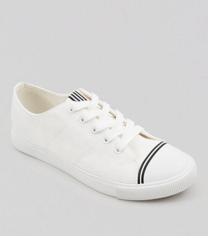 b8134b36b425 White Canvas Stripe Detail Trainers