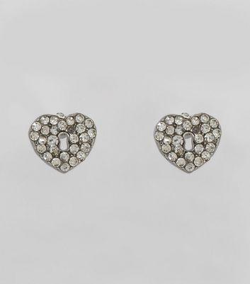 Silver Crystal Padlock Heart Stud Earrings New Look