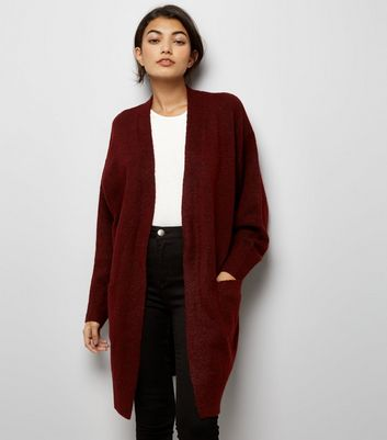 Burgundy Open Front Batwing Sleeve Longline Cardigan New Look