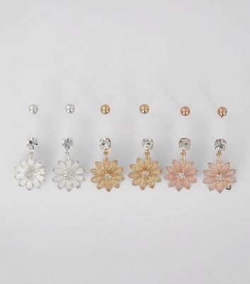 6 Pack Gold Rose Gold and Silver Flower Drop Stud Earrings New Look