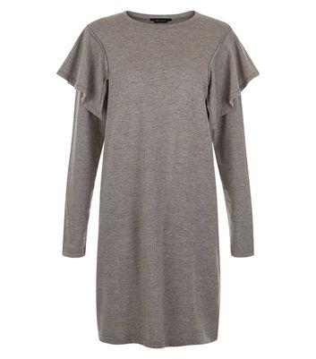 Grey Frill Trim Sweater Dress New Look