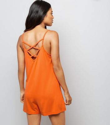Petite Orange Lattice Back Jersey Playsuit New Look