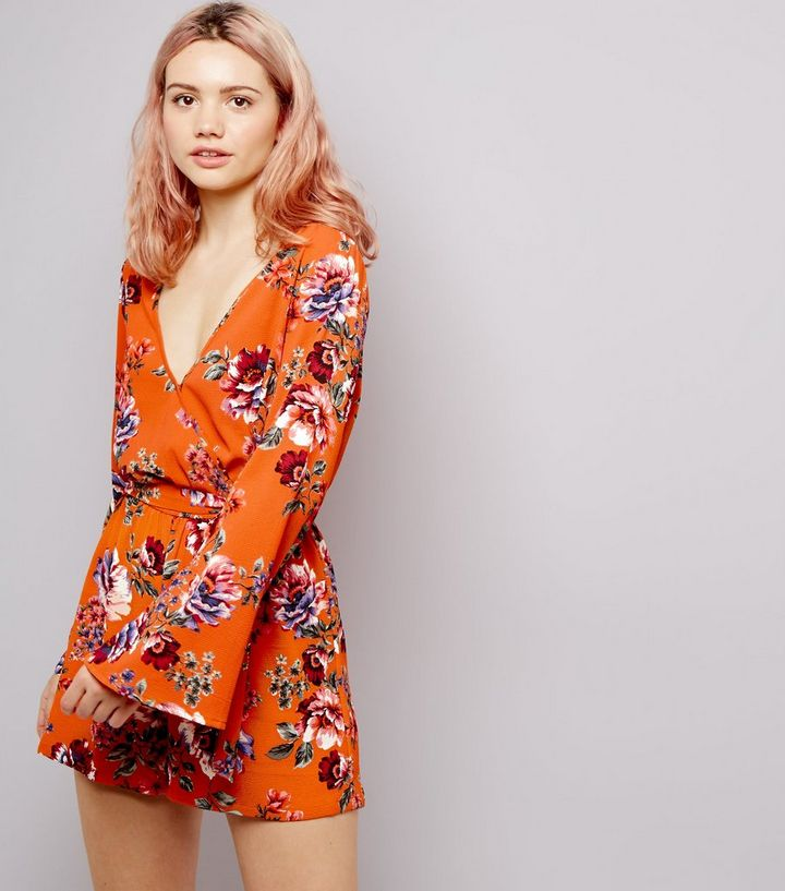 63a504b2d7b5 Orange Floral Print Flared Sleeve Playsuit