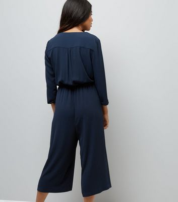 Petite Navy Wrap Front Culotte Jumpsuit New Look