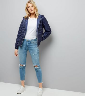 Navy Lightweight Puffer Jacket New Look