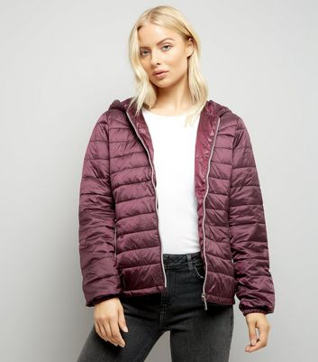 Burgundy Lightweight Puffer Jacket New Look