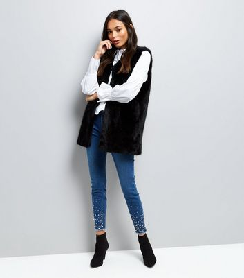 Black Faux Fur Longline Gilet New Look