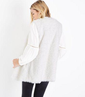 White Faux Fur Gilet New Look