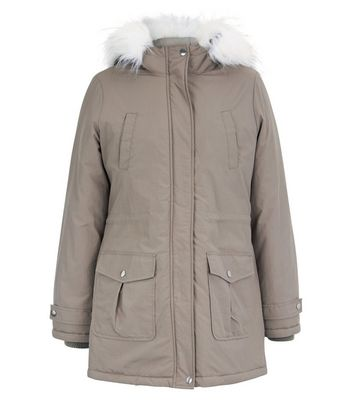 Grey Faux Fur Trim Hooded Parka New Look