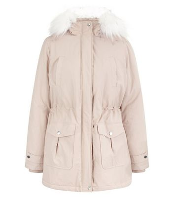 Pink Faux Fur Trim Hooded Parka New Look