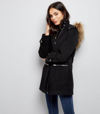 Black Faux Fur Trim Hooded Duffle Coat New Look