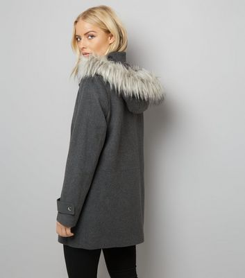 Grey Faux Fur Trim Hooded Duffle Coat New Look
