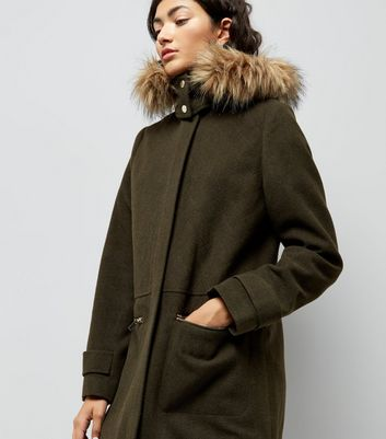 Khaki Faux Fur Trim Hooded Duffle Coat New Look