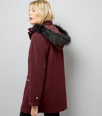 Burgundy Faux Fur Trim Hooded Duffle Coat New Look