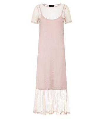 Pink Spot Print Mesh Midi Dress New Look