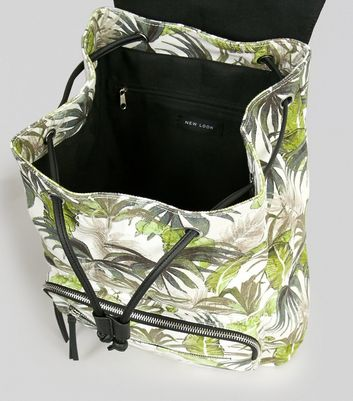 White Palm Print Backpack New Look