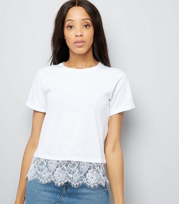 White Lace Hem T-Shirt New Look
