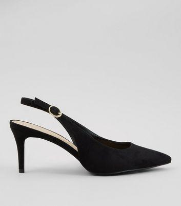 Black Slingback Kitten Heels | New Look