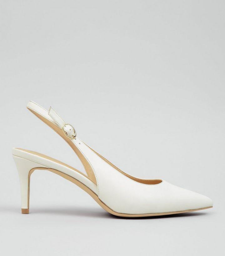 2bae033ac94 White Pointed Slingback Heels