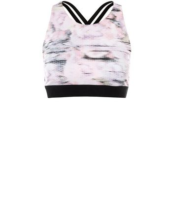 Pink Blush Honeycomb Print Crop Sports Crop Top New Look