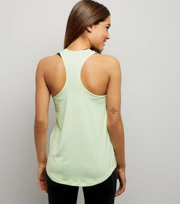 Yellow Mesh Trim Sports Vest New Look