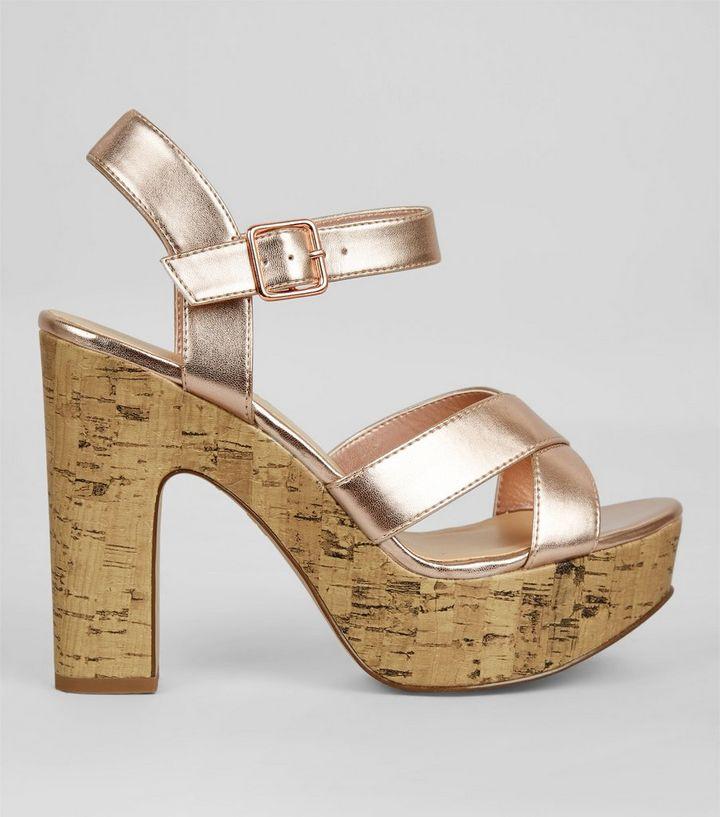 275632d1e558 Wide Fit Rose Gold Cork Platform Heels