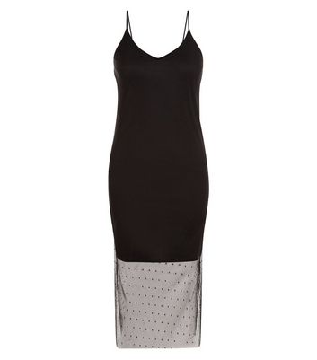 Black Spot Mesh Hem Slip Dress New Look