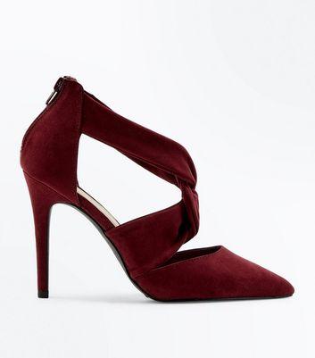 Wide Fit Burgundy Suedette Twist Strap Front Heels New Look