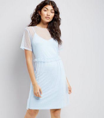 Pale Blue Frill Trim Mesh Smock Dress New Look