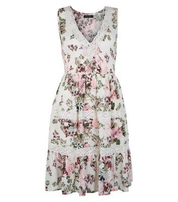 Cream Floral Print Crochet Trim Dress New Look