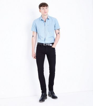 Blue Patterned Short Sleeve Denim Shirt New Look