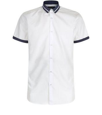 White Spot Print Trim Short Sleeve Shirt New Look