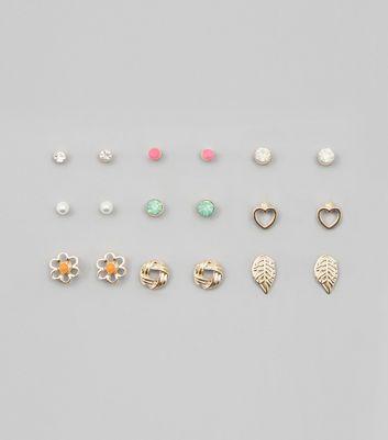 9 Pack Gold Neon Stud Earrings New Look