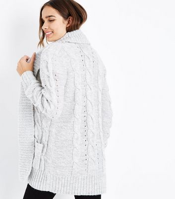 Tall Grey Cable Knit Cardigan New Look