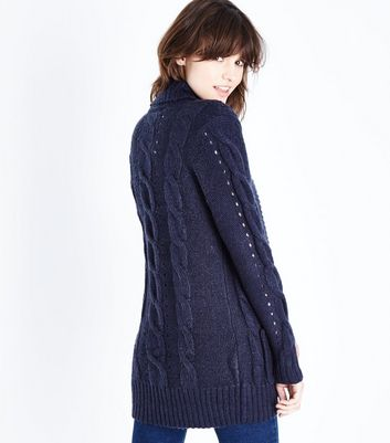 Tall Navy Cable Knit Cardigan New Look