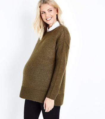 Maternity Khaki Longline Jumper New Look