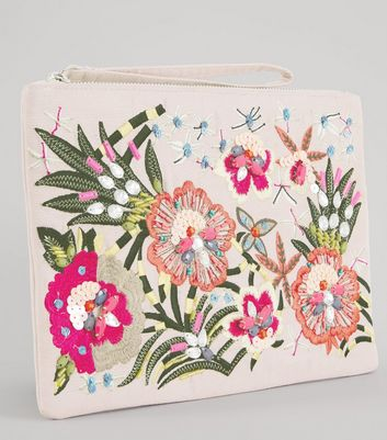 Pink Floral Embroidered Clutch New Look