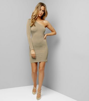Khaki Ribbed Off the Shoulder Bodycon Dress New Look