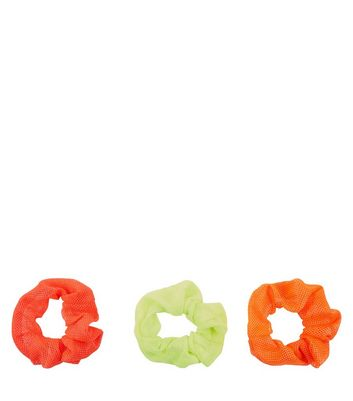 3 Pack Orange and Green Mesh Scrunchies New Look