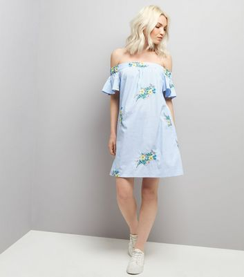 Petite Blue Stripe Floral Embroidered Bardot Neck Dress New Look
