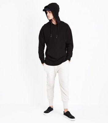 Black Dropped Shoulder Longline Hoodie New Look
