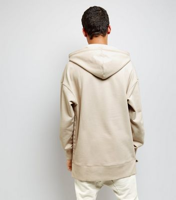 Stone Dropped Shoulder Longline Hoodie New Look