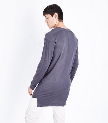 Grey Seam Front Longline Long Sleeve T-Shirt New Look